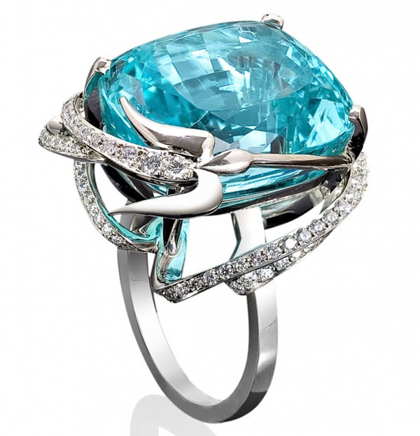 Кольцо с голубым турмалином